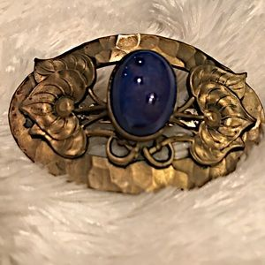 Art Nouveau Broach with Lapis Lazuli Stone